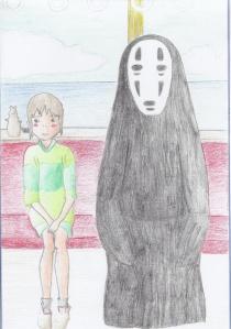 Chihiro en su viaje, recreada por Marc